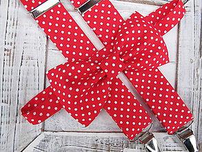 Doplnky - Pánsky motýlik a traky- červený s bielou bodkou set - 7580150_