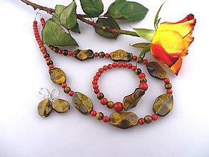 Sady šperkov - koral a tigrie oko súprava - náhrdelník, náramok, náušnice - 7579725_