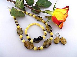 Sady šperkov - Kalcit tigrie oko náhrdelník náramok náušnice - 7579799_