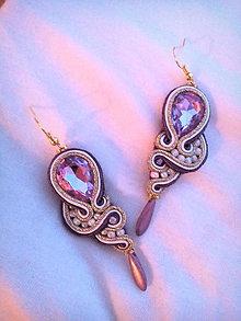 Náušnice - fialovo zlaté šujtáš náušnice - 7581898_