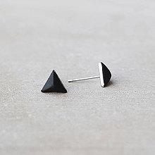Náušnice - Čierne náušnice v tvare ihlanu – chirurgická oceľ (8 mm) - 7580495_