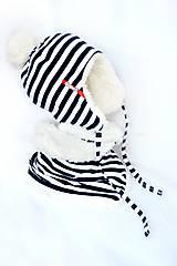 Detské súpravy - zimný set s menom navy pruhy & fleece cream - 7581866_