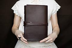 Papiernictvo - Ručne viazaný kožený zápisník Alžbeta / akvarelový papier - 7579304_