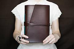 Papiernictvo - Ručne viazaný kožený zápisník Leonardo / akvarelový papier - 7579341_
