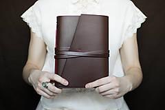 Papiernictvo - Ručne viazaný kožený zápisník Marika / notová osnova - 7580936_