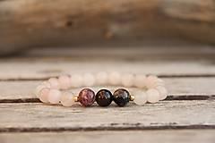 Náramky - Náramok turmalín a ruženín - 7580575_