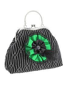 Kabelky - Spoločenská dámská kabelka čierno strieborná 06U - 7585563_