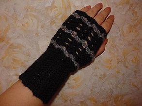 Rukavice - Šedo-čierne bezprstové rukavičky - 7582470_