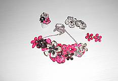 Sady šperkov - pink art flowers set - 7584766_