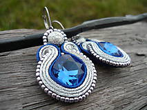 - Soutache náušnice Luxury Silver&Sapphires...letný barter :) - 7584689_
