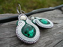 - Soutache náušnice Luxury Silver&Emeralds - 7585592_