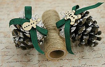 Dekorácie - vianočné ozdoby_ šišky medovníčky - 7585610_