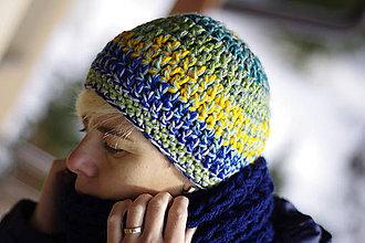 Čiapky - farebnica farebná modro-zelenkavá:) čiapka akurátka - 7582815_