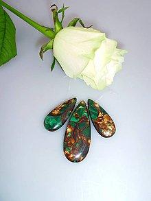 Minerály - malachit bronzit slzy - 3ks sada - 7584004_