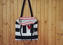 Nákupné tašky - ČIERNO-BIELE PÁSIKY široké - 7582730_