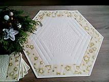 Úžitkový textil - Vianočná sada - obrus šesťuholník + podšálky - 7582301_
