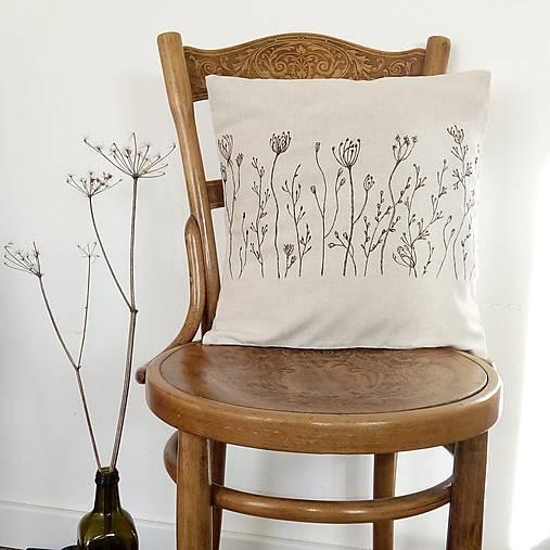 Úžitkový textil - Prírodný vankúš trávy - ručná kresba farbami na textil - 7582545_