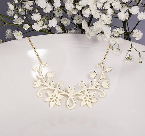 Náhrdelníky - Náhrdelník Kvety - malý žlté zlato - 7583518_