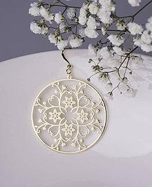 Náušnice - Ornament Kvety - 6cm žlté zlato - 7582857_
