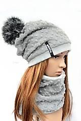 Čiapky - zimná súprava s menom a odopínacím brmbolcom silver & gray...alebo farbu si vyber! - 7585052_