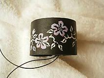 Náramky - Náramok kožený, kvitnú - 7582505_