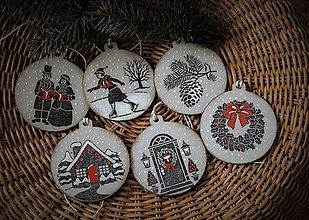 Dekorácie - Sada vintage vianočných ozdôb - 7584908_