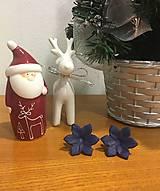 - Náušnice Kvety z fima, modré - 7586983_