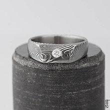 Prstene - Damasteel zásnubní prsten a diamant - Leila - 7587354_