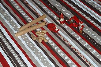 Úžitkový textil - Obrus vianočné pásiky - 7587858_