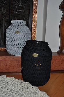 Dekorácie - Čierny svietnik - váza - 7587409_
