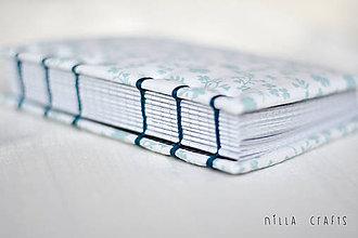 Papiernictvo - Ručne šitý hladkací zápisník - Tyrkysová lúka - rezervované pre M.M.  - 7588568_