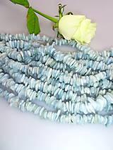 akvamarín korálky -tromlované plátky
