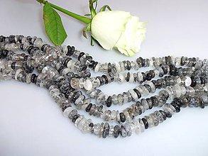 Minerály - turmalín korálky, skoryl korálky - ováliky plátky - 7587194_