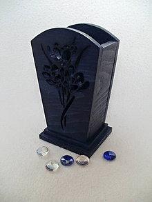 Dekorácie - Drevená váza Modré kvety - 7586834_