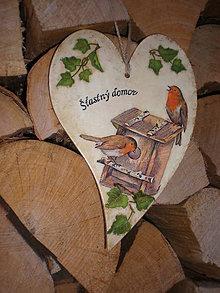 Dekorácie - Drevené srdce - Šťastný domov - 7587588_