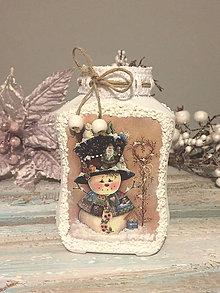 Svietidlá a sviečky - Svietnik vianočný / vázička Snehuliačik - 7585890_
