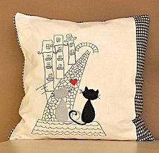 Úžitkový textil - vankúš-mačky na streche - 7587894_