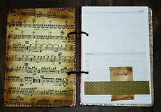 Papiernictvo - Hudobný diár,vintage diár klavír,noty s vymeniteľným obsahom pre muža i ženu - 7586070_
