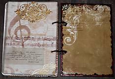 Papiernictvo - Hudobný diár,vintage diár klavír,noty s vymeniteľným obsahom pre muža i ženu - 7586075_