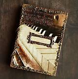 Papiernictvo - Hudobný diár,vintage diár klavír,noty s vymeniteľným obsahom pre muža i ženu - 7586104_