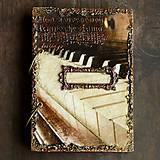 Papiernictvo - Hudobný diár,vintage diár klavír,noty s vymeniteľným obsahom pre muža i ženu - 7586105_