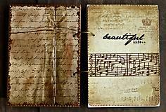 Papiernictvo - Hudobný diár,vintage diár klavír,noty s vymeniteľným obsahom pre muža i ženu - 7586106_