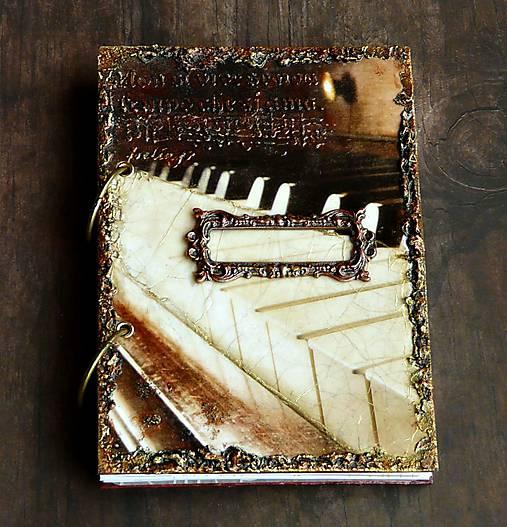 Hudobný diár,vintage diár klavír,noty s vymeniteľným obsahom pre muža i ženu