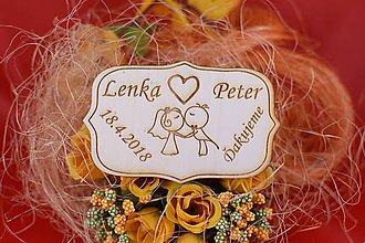Darčeky pre svadobčanov - Drevená svadobná magnetka ako vyslužka hosťom  75 - 7586241_