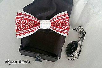 Doplnky - Červeno-biely motýlik - 7586687_