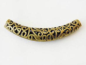 Komponenty - Ozdobná rúrka s ornamentami, starozlatá, bal.1ks - 7586590_