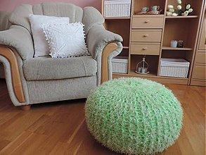 Úžitkový textil - Puf zelený chlpatý - skladom - 7587046_
