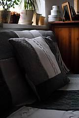 Úžitkový textil - Šedobiela deka s vankúšom - 7586253_