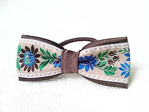 Ozdoby do vlasov - Slovak folklore hair bow (brown) - 7591495_