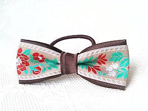 Ozdoby do vlasov - Slovak folklore hair bow (brown/beige) - 7591531_